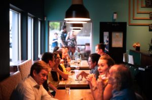 people talking in restaurant