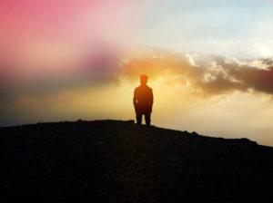 Man sunset thinking