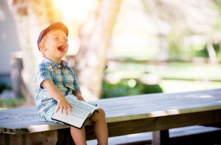 Kid laughing and happy