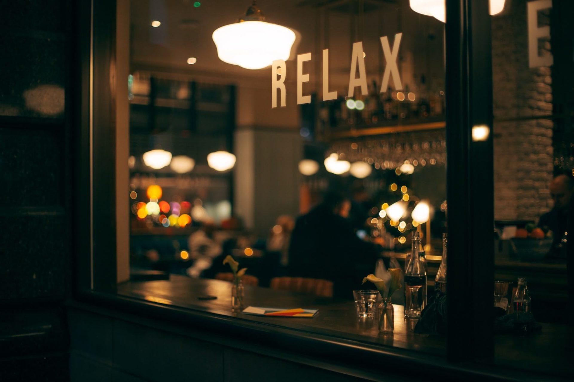 Relax sign coffee shop