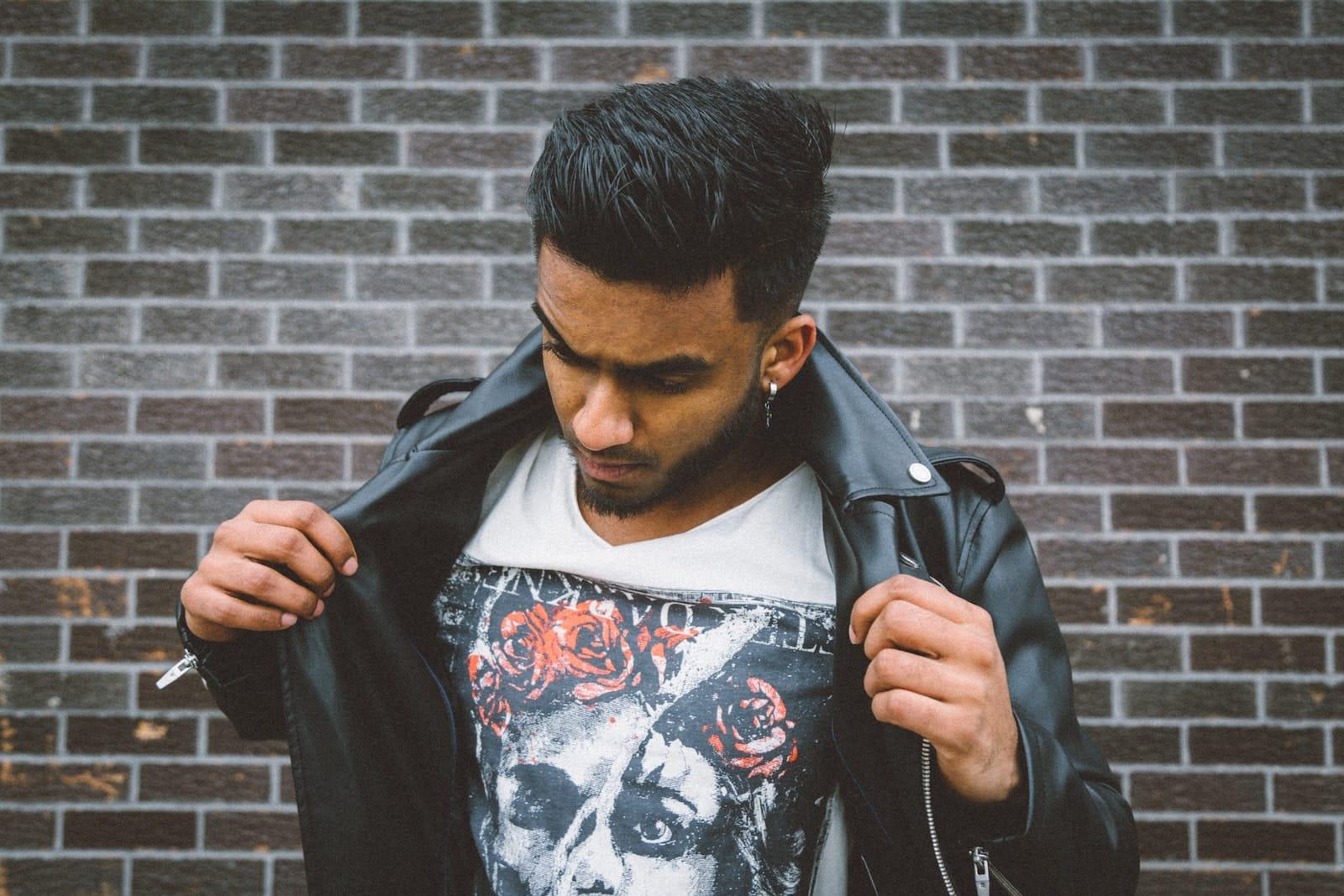 Punk guy leather jacket