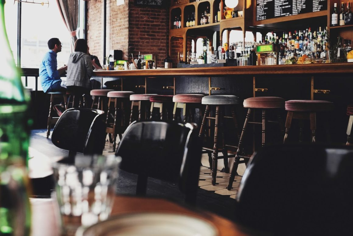 Empty bar with stools.