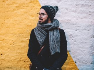 Hipster with scarf and beard