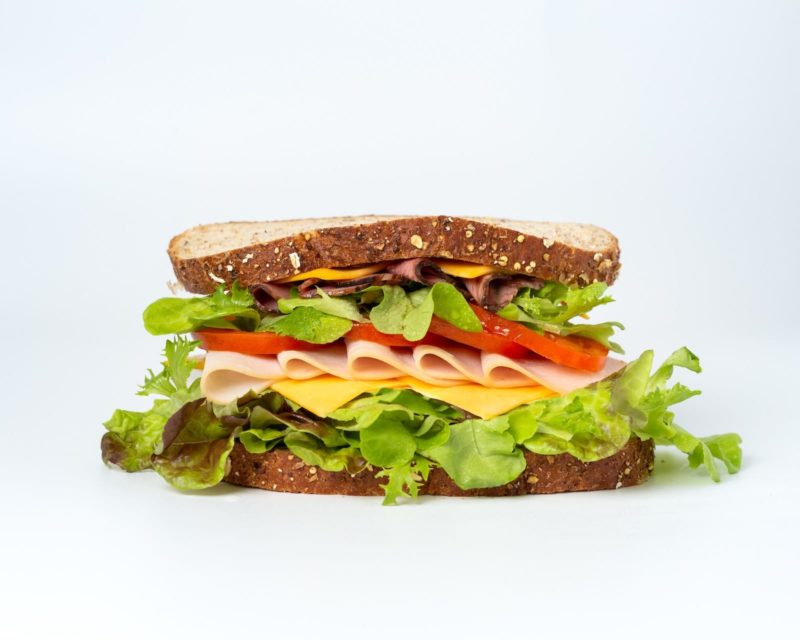 Delicious stacked sandwich.
