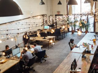 Freelancers working their gigs at a coworking space.