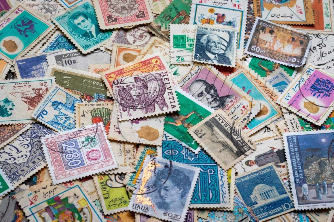 A collection of stamps from across the world.