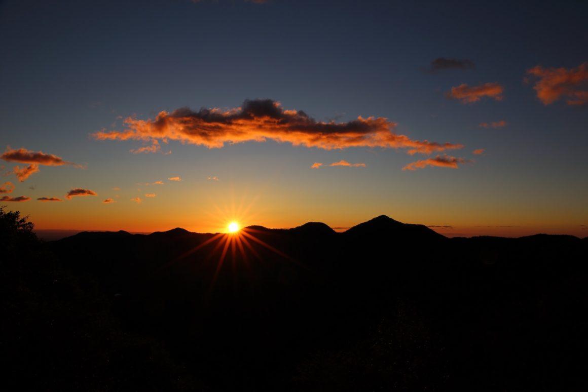 Sunrise over mountains.